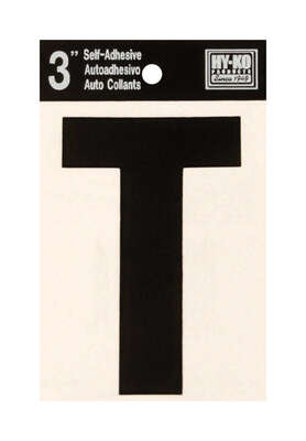 Hy-Ko  3 in. Black  Vinyl  Self-Adhesive  Letter  T  1 pc.