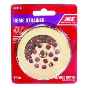 Ace  2-7/8 in. Gloss  Brass  Dome Strainer