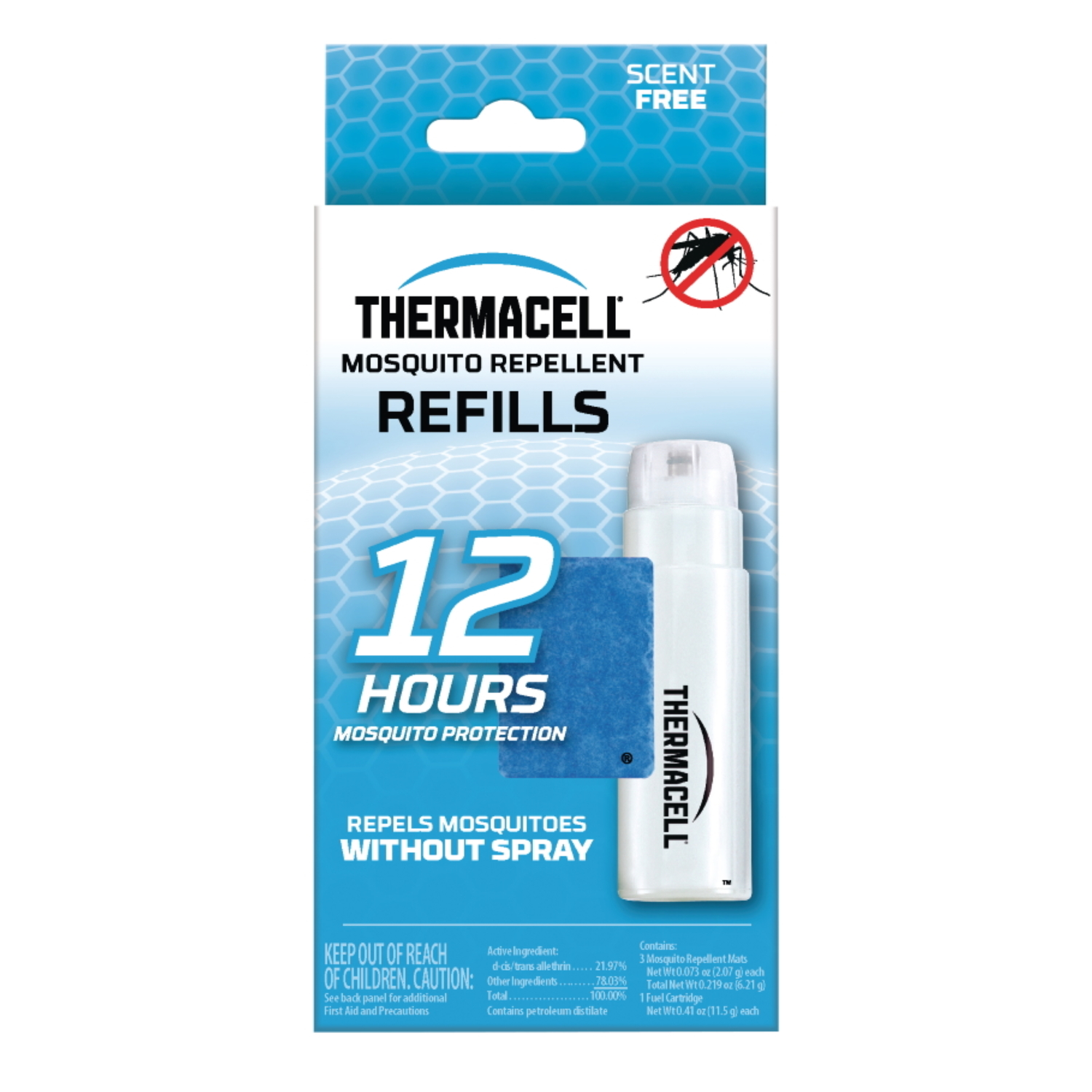 Thermacell Insect Repellent Refill Cartridge For Mosquitoes 0.2 oz. For use in Thermacell Repellers, Lanterns, and Torches. Turn it on… Mosquitoes Gone!