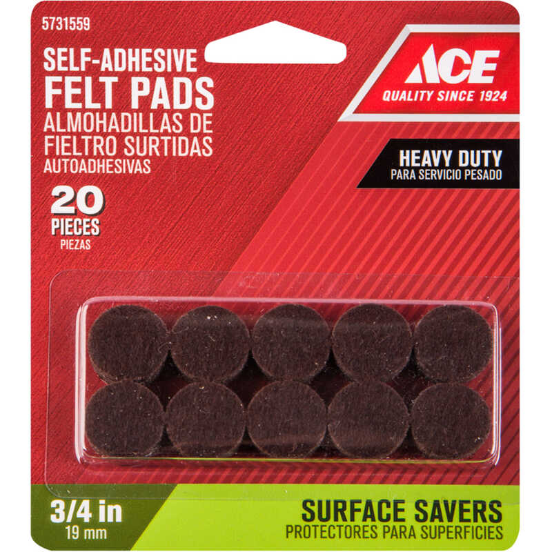 Ace  Felt  Pad  Brown  Round  3/4 in. W Self Adhesive 20 pk