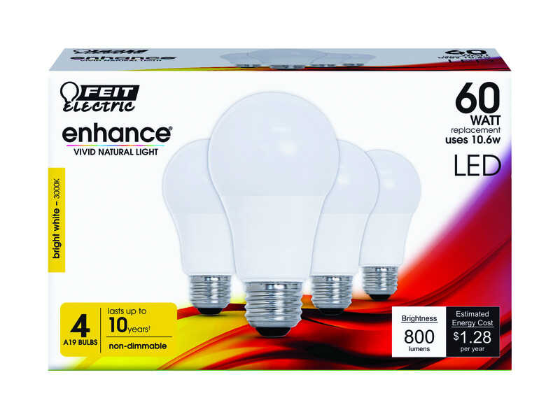 FEIT Electric  Enhance  10.6 watts A19  LED Bulb  800 lumens Bright White  A-Line  60 Watt Equivalen