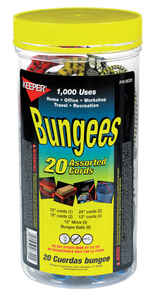Keeper  Assorted  Bungee Cord Set  15 in. L x 0.374 in.  20 pk