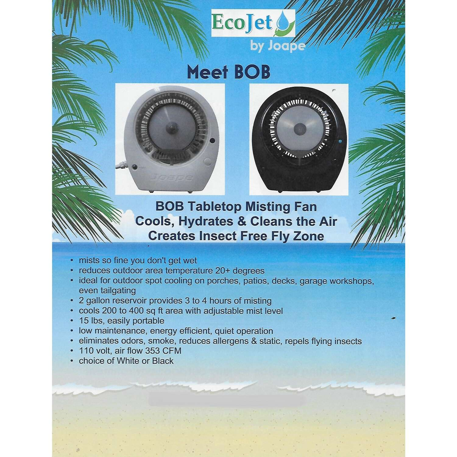 EcoJet by Joape  Bob  14 in. 1 speed Electric  Tabletop Misting Fan