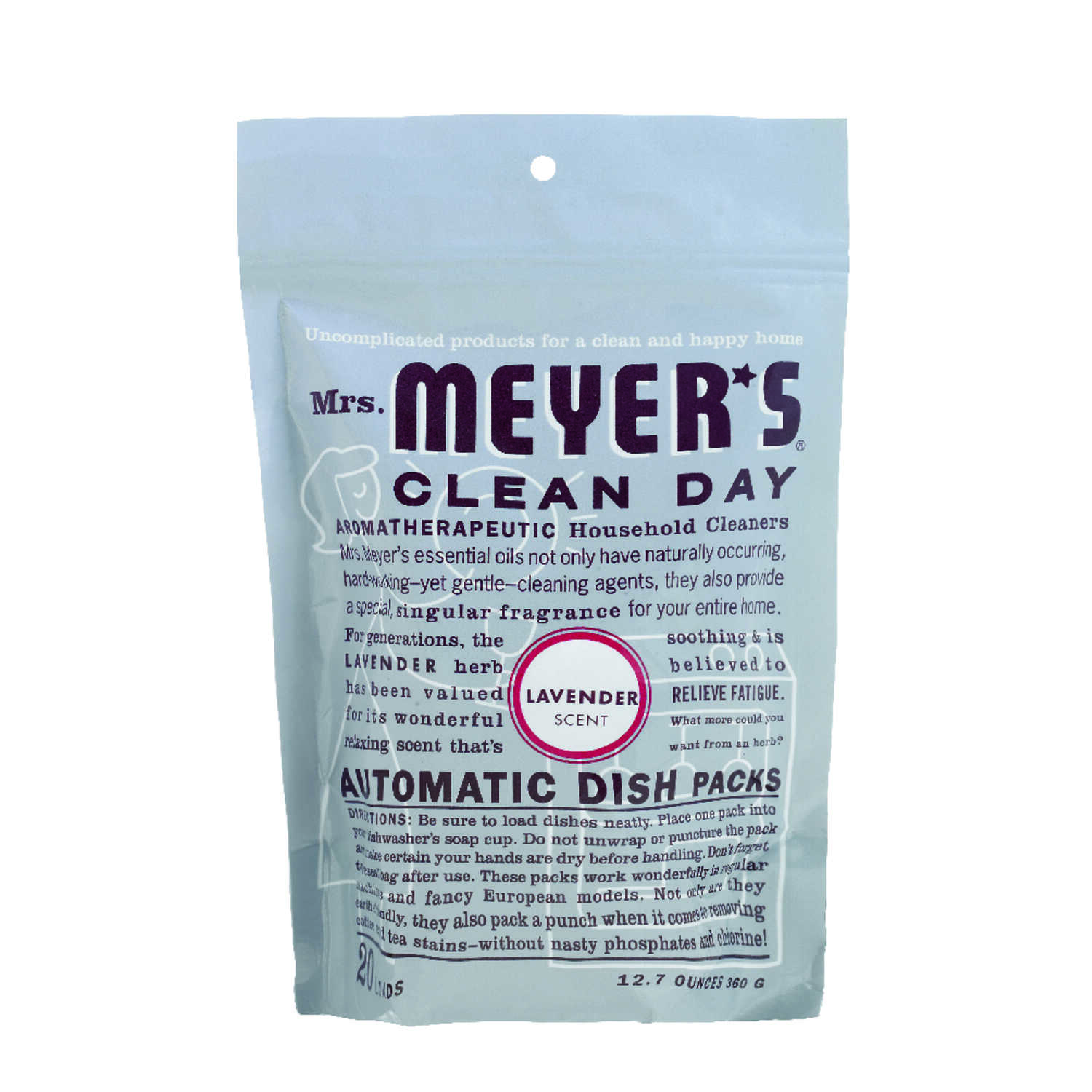 Mrs. Meyer's  Clean Day  Lavender Scent Powder  Dishwasher Detergent  12.7 oz. 20 pk