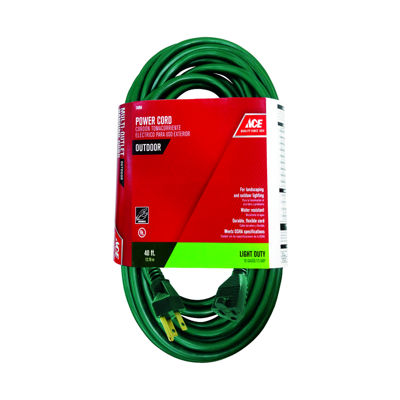 Ace  Outdoor  Green  Extension Cord  16/3 SJTW  40 ft. L