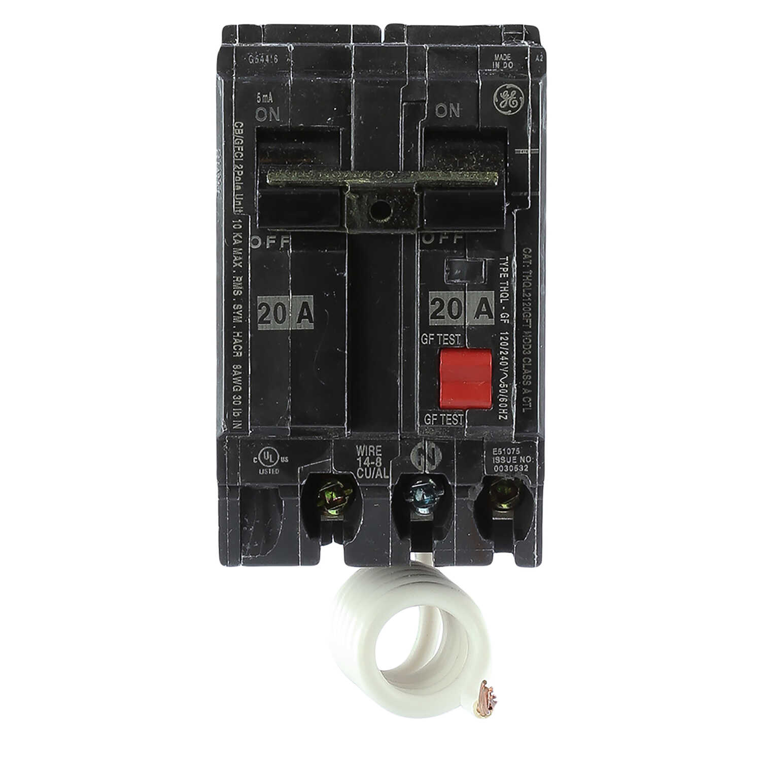 GE  20 amps Ground Fault  2-Pole  Circuit Breaker w/Self Test