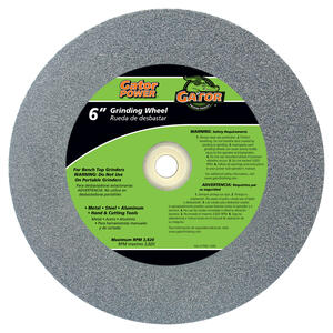 Gator  6 in. Dia. x 3/4 in. thick  x 1 in.   Aluminum Oxide  Grinding Wheel  3820 rpm 1 pc.