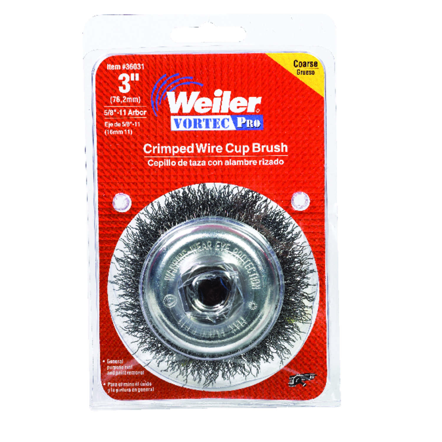 Weiler Vortec Pro 3 in. Dia. x 5/8-11 Crimped Steel Crimped Wire Cup Brush 14000 rpm 1 pc.