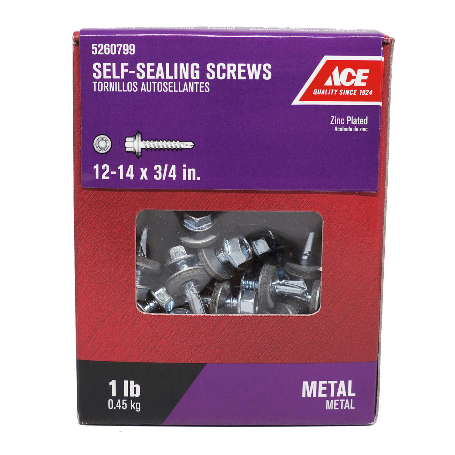 Ace  12-14 Sizes  x 3/4 in. L Hex Washer Head Zinc-Plated  Steel  Self-Sealing Screws  1 lb.