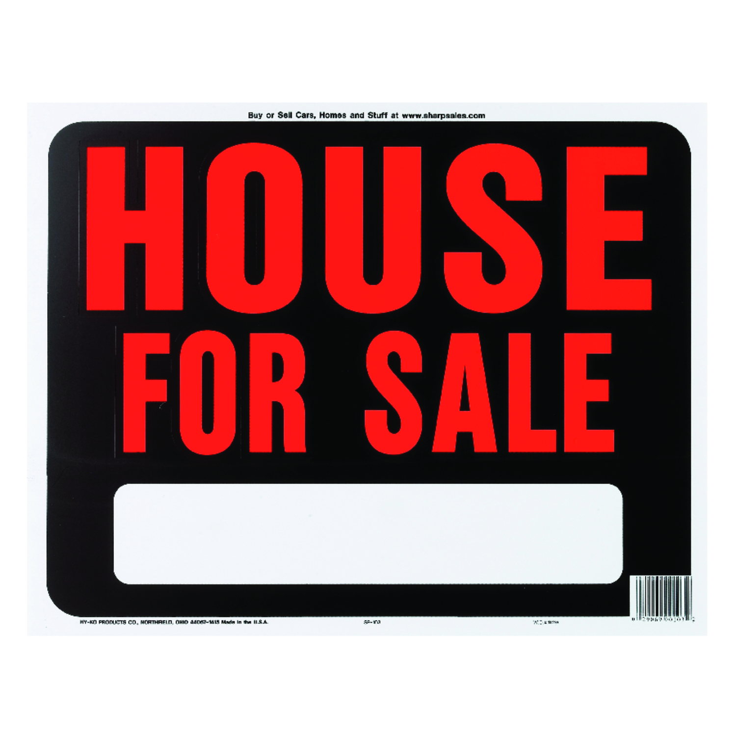 Hy-Ko  English  15 in. H x 19 in. W House for Sale  Sign  Plastic