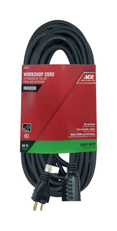 Ace  Indoor  50 ft. L Black  Extension Cord  16/3 SJO
