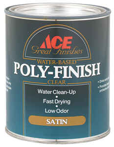 Ace  Satin  Clear  Water-Based  Poly Finish  1 qt.