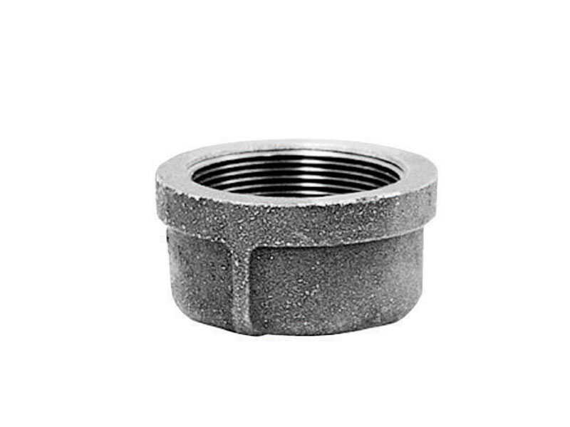 B & K  1-1/2 in. FPT   Galvanized  Malleable Iron  Cap