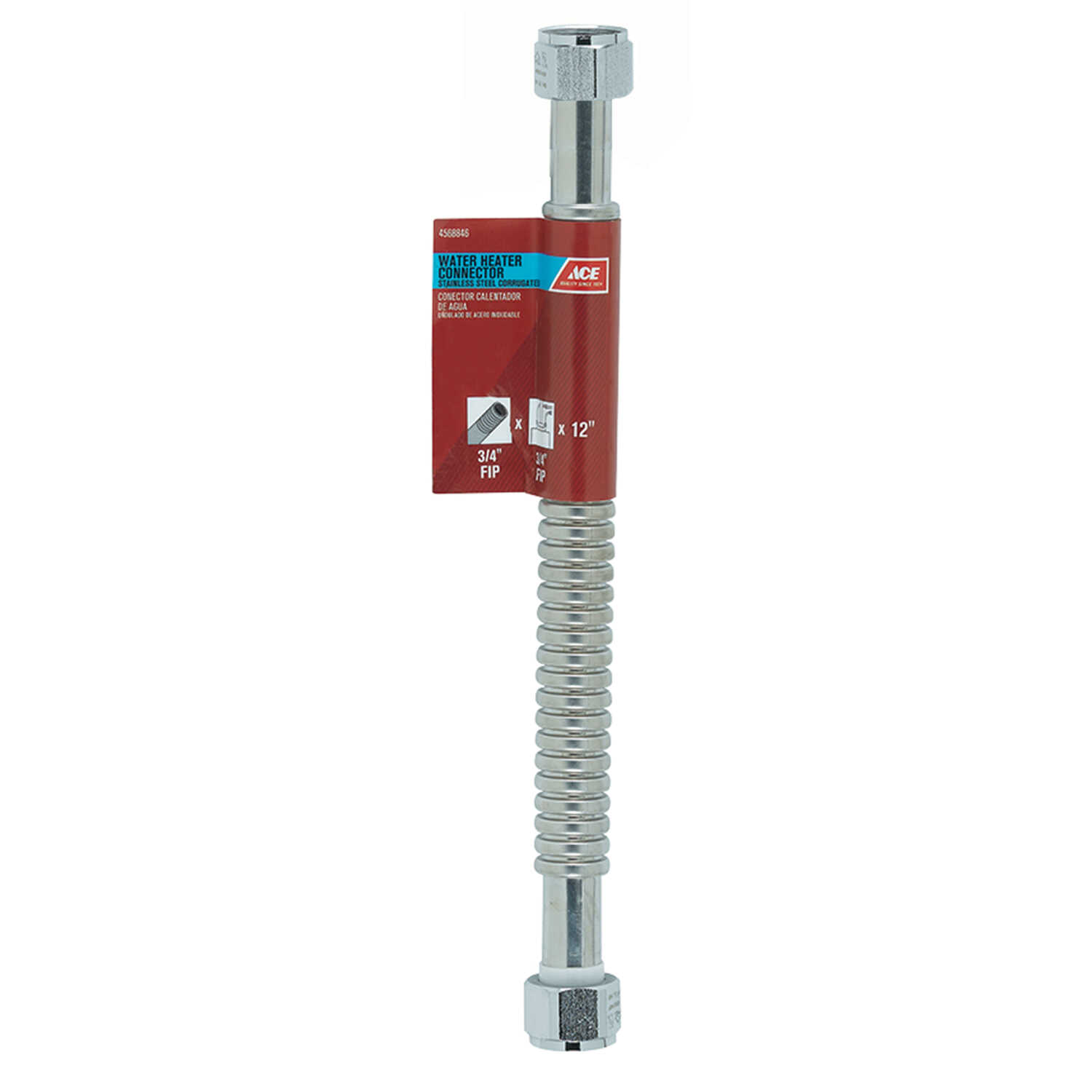 Ace  3/4 in. FIP   x 3/4 in. Dia. FIP  12 in. Corrugated Stainless Steel  Water Heater Supply Line