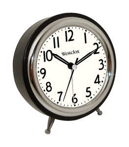 Westclox  Silver  Alarm Clock  5 in. Analog