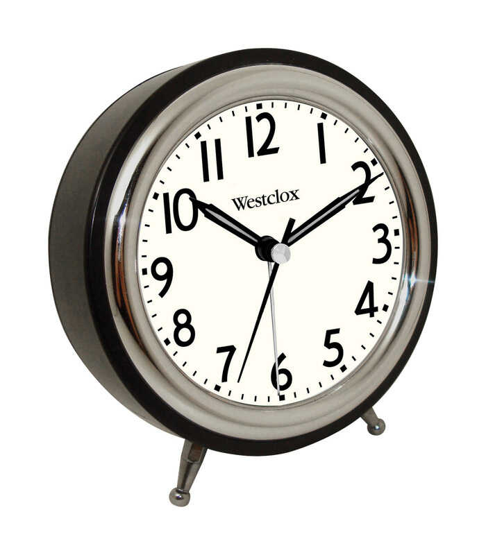 Westclox  5 in. Silver  Alarm Clock  Analog