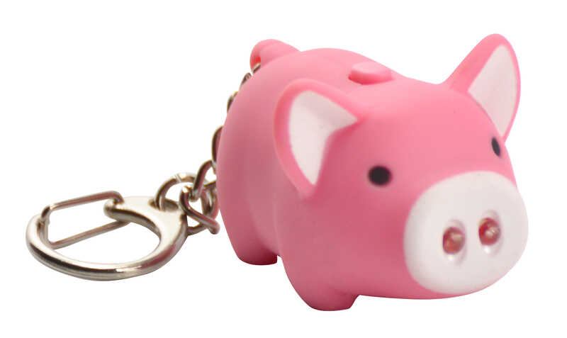 KeyGear  Plastic  Pink/White  Pig  Key Chain w/LED Light