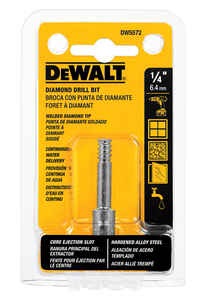 DeWalt  1/4 in. Dia. x 2-1/4 in. L Diamond Tipped  Tile Drill Bit  3/8 in. Straight Shank  1 pc.