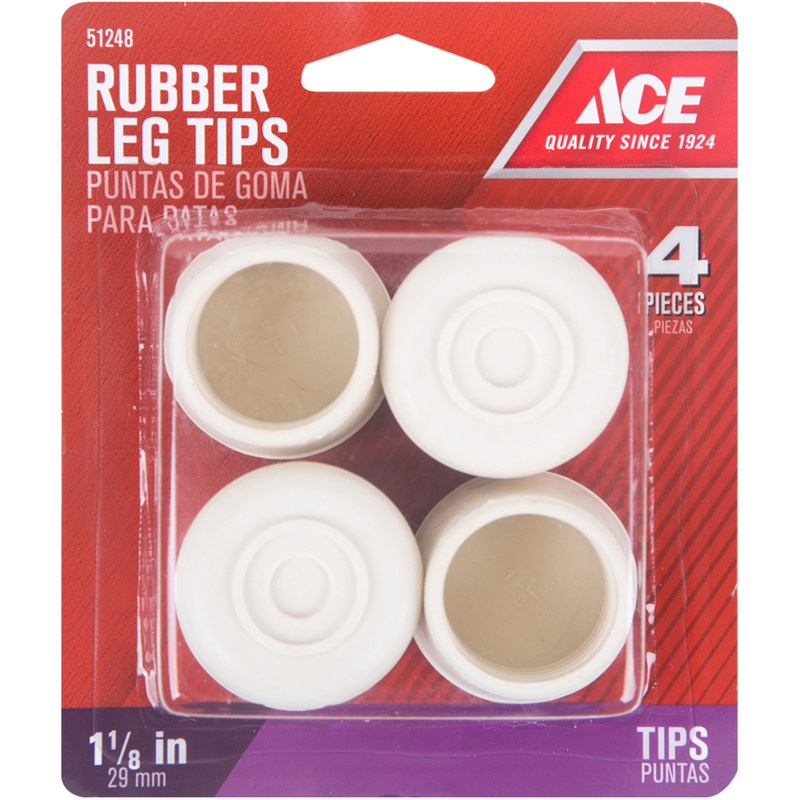 Ace  Rubber  Leg Tip  Round  1-1/8 in. W 4 pk Off-White