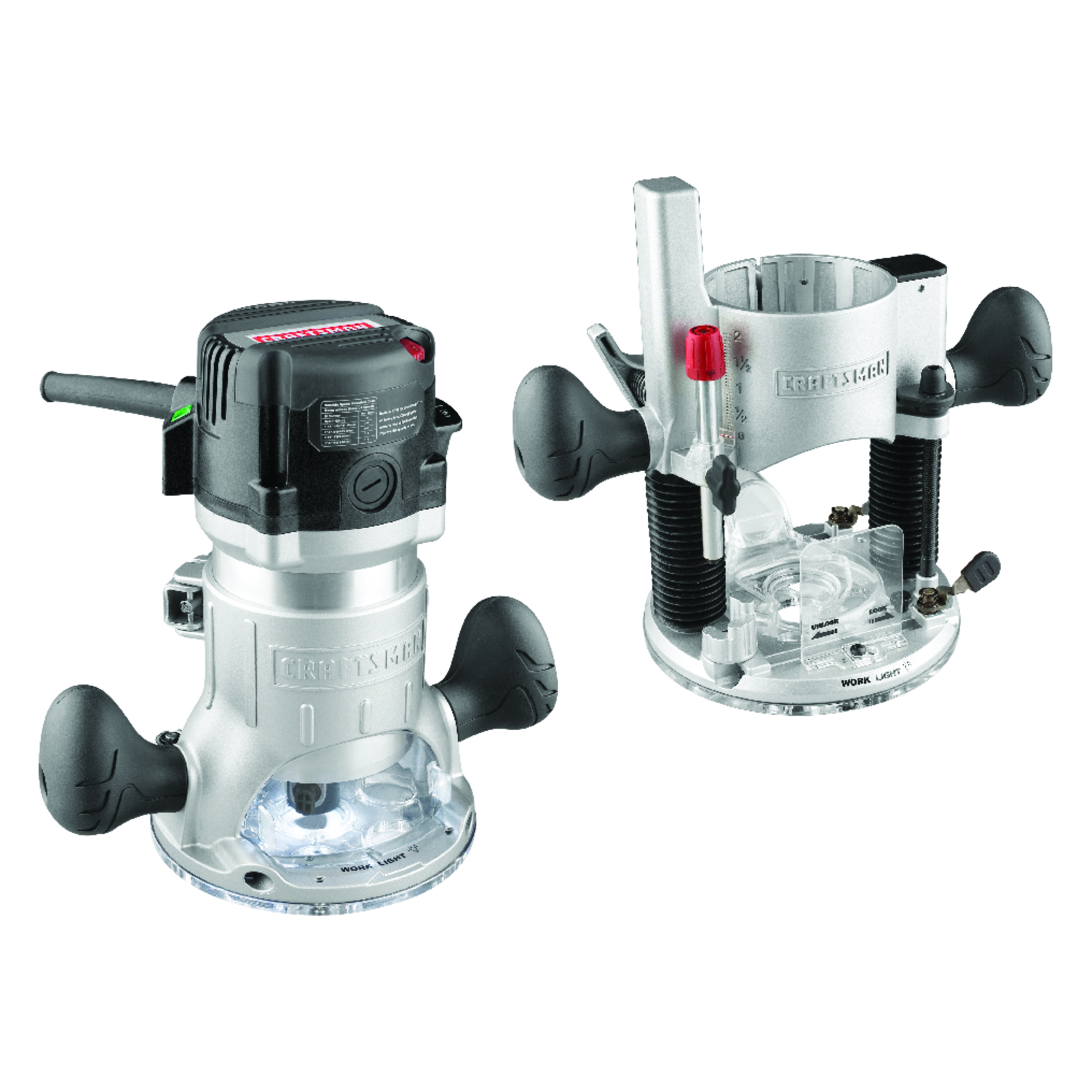 Craftsman Fixed Plunge Base Router Combo 2 Hp 25 000 Rpm 12 Amp 1 4