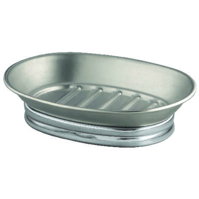 InterDesign  York Metal  Soap Dish  1.5 in. H x 4  W x 5.6 in. L Chrome  Silver  Stainless steel