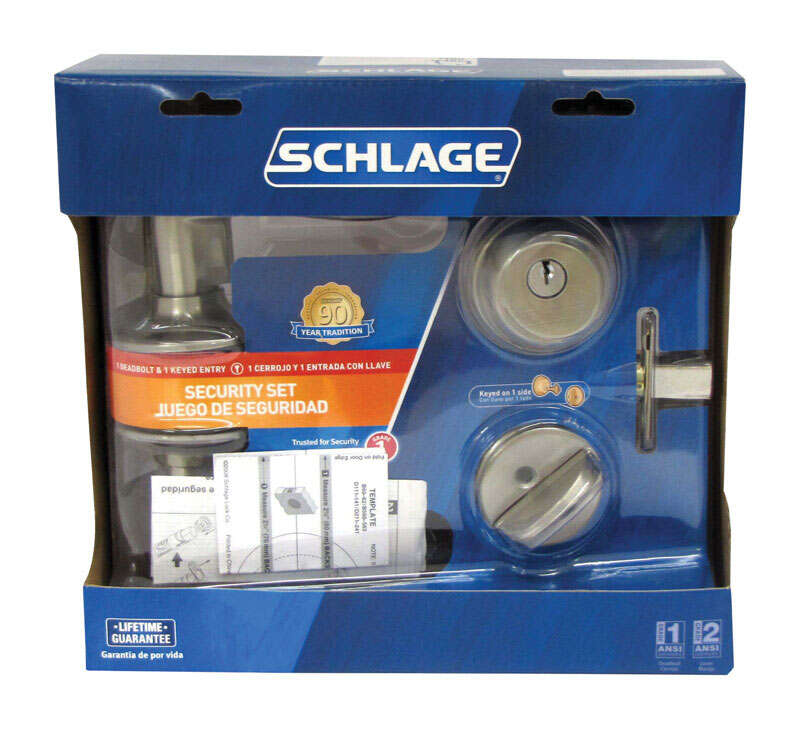Schlage  Accent  Satin Nickel  Steel  Lever and Single Cylinder Deadbolt  ANSI Grade 2  1-3/4 in.