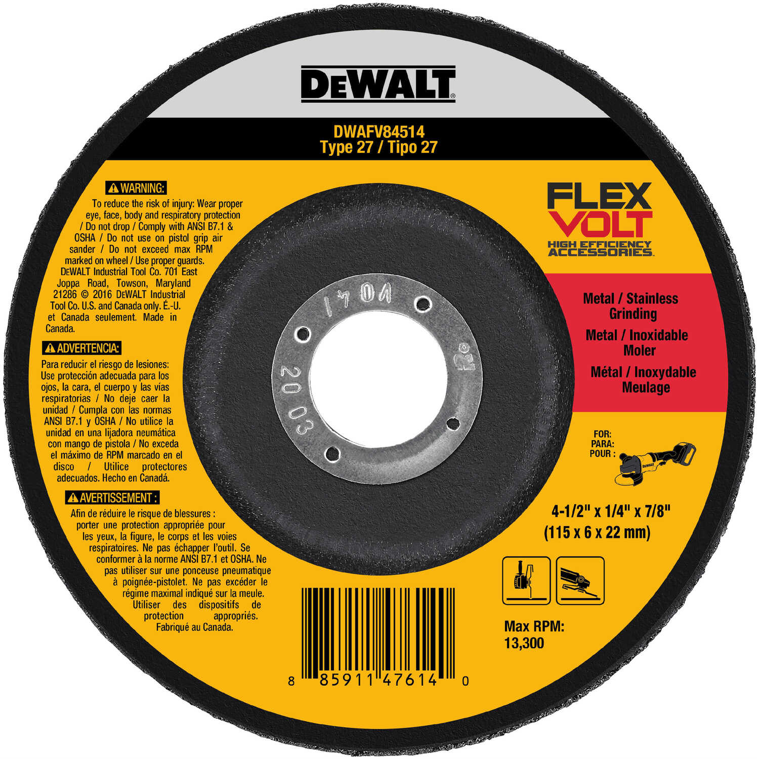 DeWalt  Flexvolt  1/4 in. thick  x 7/8 in.   x 4-1/2 in. Dia. Metal Grinding Wheel  13300 rpm 1 pc.