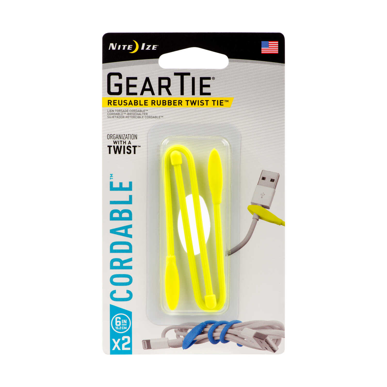 Nite Ize  Gear Tie Cordable  6 in. L Yellow  Cable Tie  2 pk