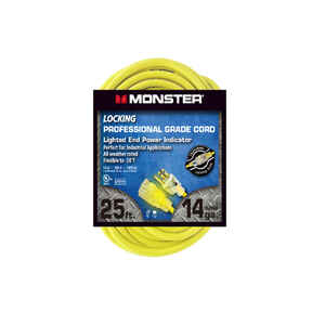 Monster Cable  Outdoor  25 ft. L Yellow  Extension Cord  14/3 SJTW