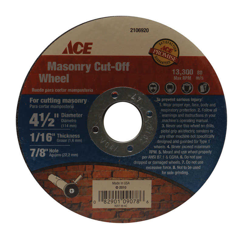 Ace  4-1/2 in. Aluminum Oxide  Masonry Cut-Off Wheel  1/16 in. thick  x 7/8 in.  1 pc.
