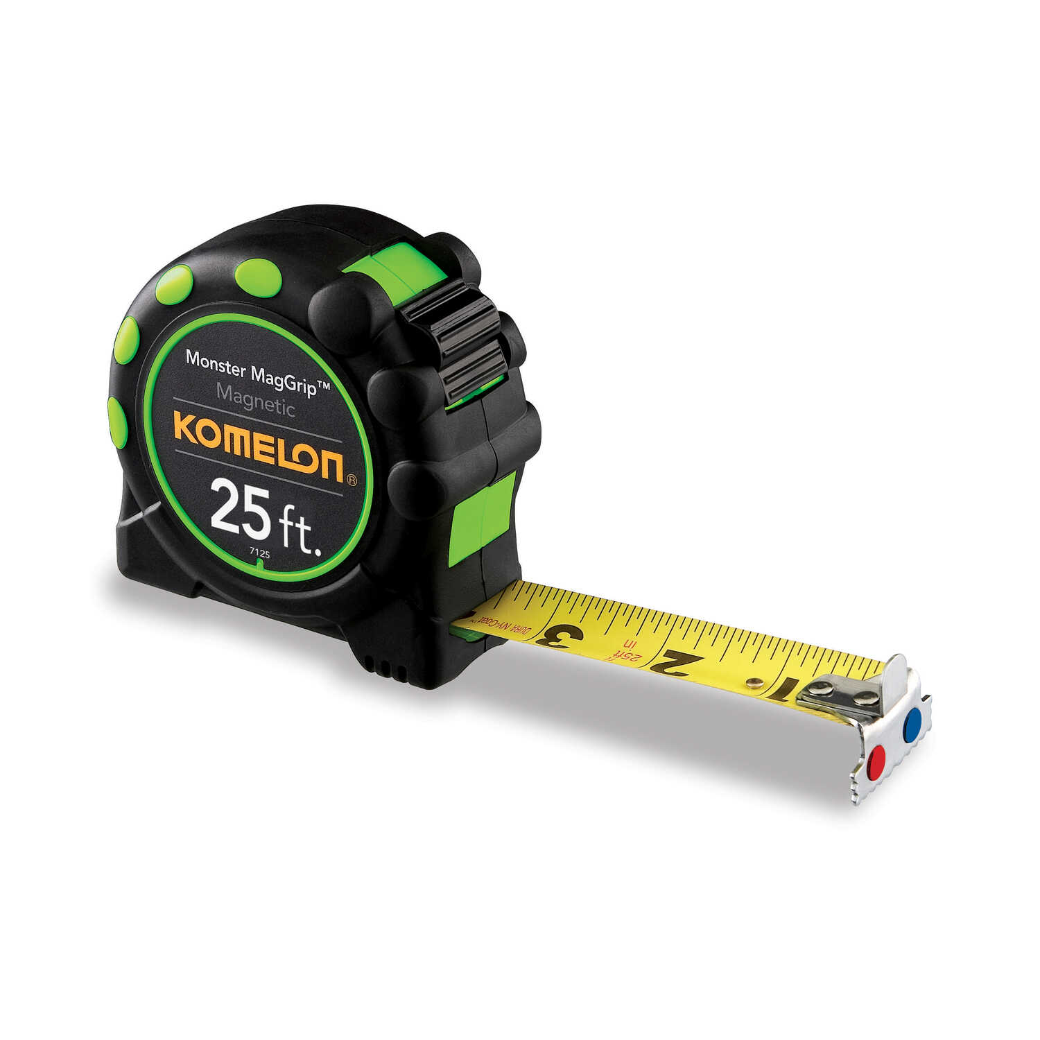 Komelon  Magnetic  25 ft. L x 1 in. W Tape Measure  Black  1 pk