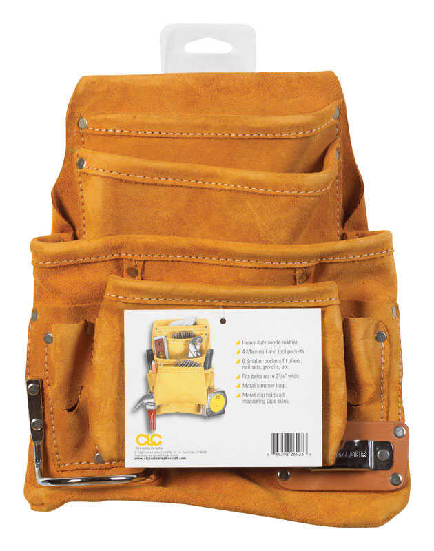 CLC Work Gear  3 in. W x 14.25 in. H Suede  Nail and Tool Pocket Apron  Tan  1 pc.