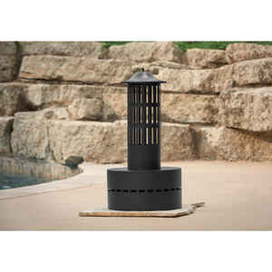 HY-C  Tall Vertical Fire Tower  Wood  Fire Column  27 in. H x 13.5 in. W x 13.5 in. D Steel