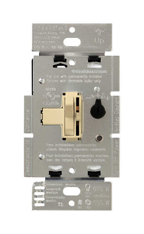 Lutron  Toggler  Ivory  150 watts 3-Way  Dimmer Switch  1 pk