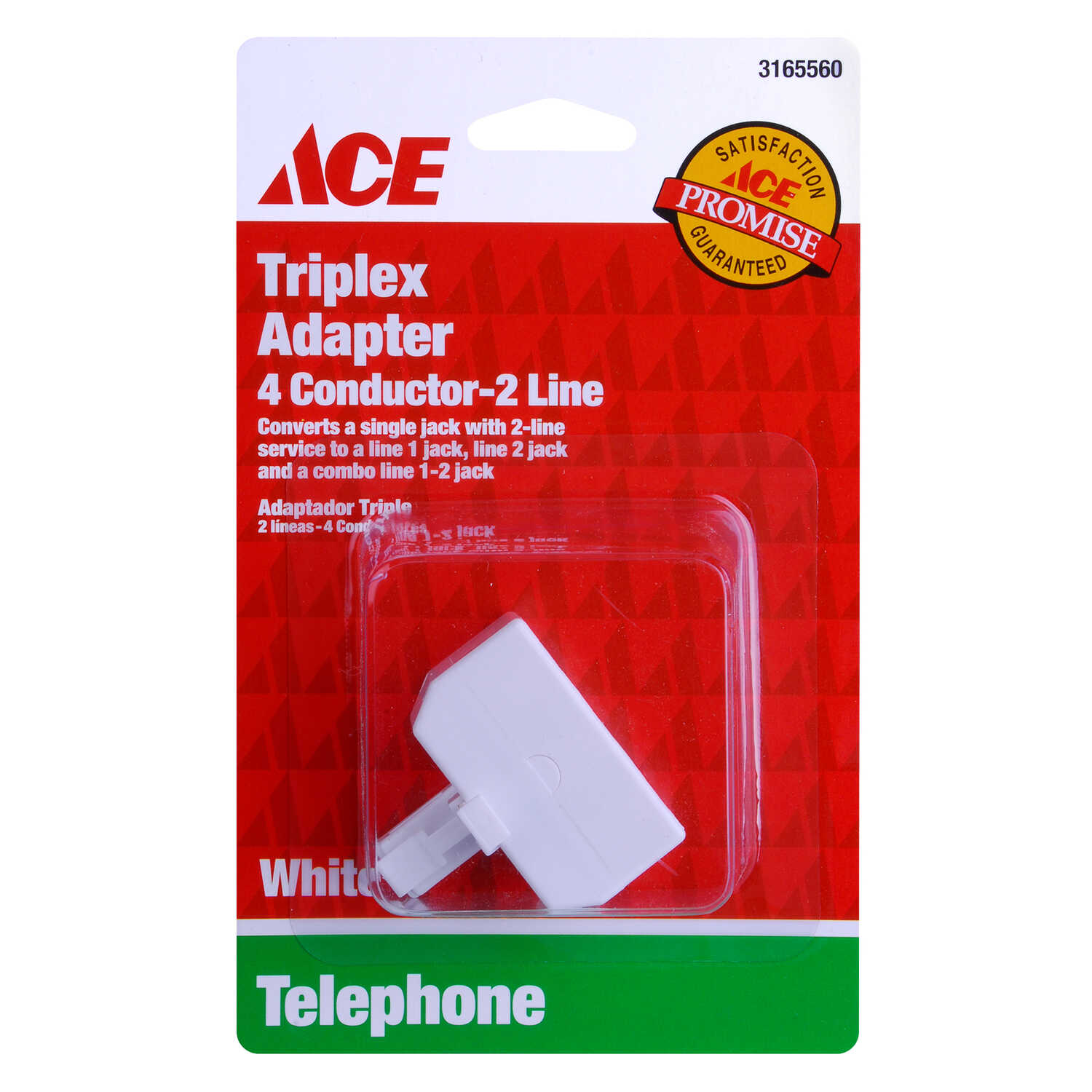 Ace  0 ft. L White  Modular Telephone Line Cable