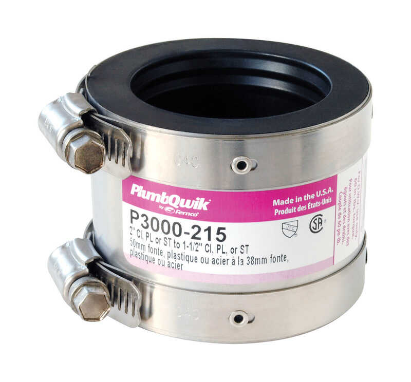 Fernco  Schedule 40  1-1/2 in. Hub   x 2 in. Dia. Hub  Neoprene Rubber  Shielded Coupling