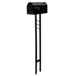 Gibraltar Mailboxes Mailbox-To-Go Classic Galvanized Steel Post Mount Black Mailbox