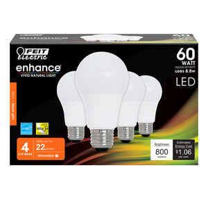 FEIT Electric  8.8 watts A19  LED Bulb  800 lumens Bright White  A-Line  60 Watt Equivalence
