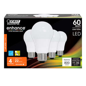 FEIT Electric  8.8 watts A19  LED Bulb  800 lumens Bright White  60 Watt Equivalence A-Line