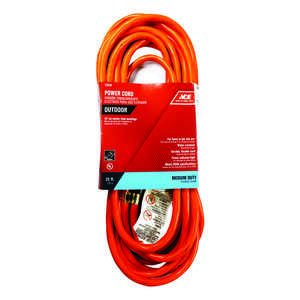 Ace  Indoor and Outdoor  25 ft. L Orange  Extension Cord  14/3 SJTW