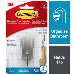 3M Command 1.18 in. L Satin Nickel Silver Adhesive Hook