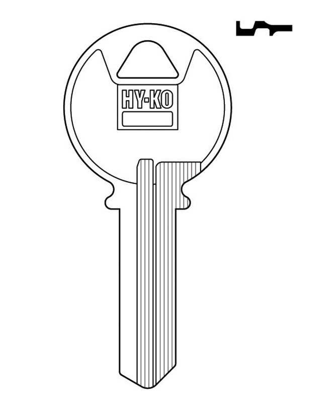 Hy-Ko  Automotive  Key Blank  EZ# K2  Single sided For K2 Keyblank Keil