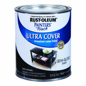 Rust-Oleum  Painters Touch Ultra Cover  Indoor and Outdoor  Semi-Gloss  Black  Latex  Paint  1 qt.