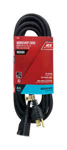 Ace  Indoor  25 ft. L Black  Extension Cord  14/3 SJO