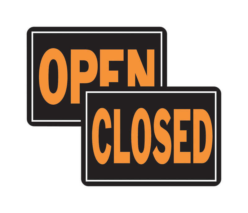 Hy-Ko  English  Open/Closed  Sign  Aluminum  9.25 in. H x 14 in. W