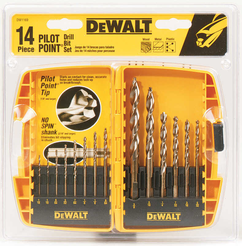 DeWalt  Pilot Point  Multi Size in. Dia. x Multi Sizes L Ferrous Oxide  Drill Bit Set  Straight Shan