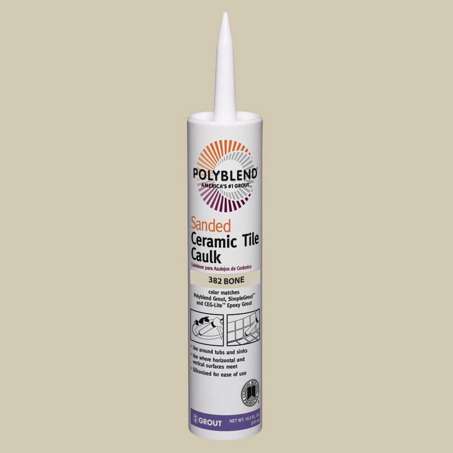 Custom Building Products  Polyblend  Bone  Caulk  10.5 oz. Siliconized Acrylic