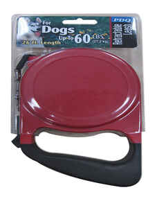 PDQ  Red / Black  Cotton/Nylon  Dog  Retractable Leash  Medium/Large