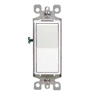 Leviton  Decora  Rocker  White  Switch  15 amps 1 pk