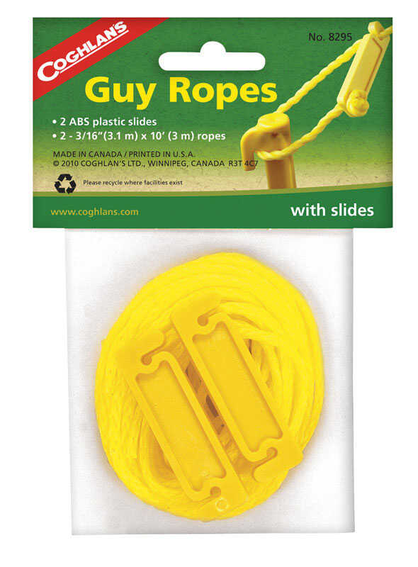 Coghlan's  Guy Ropes  Yellow  Tent Cord  5.625 in. H x 1/8 in. W x 120 in. L 2 pk